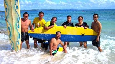 Enjoying the waves, with MRDP workmates - Arnel, Sam, Beboy, Rosie, Christian & Sherwin