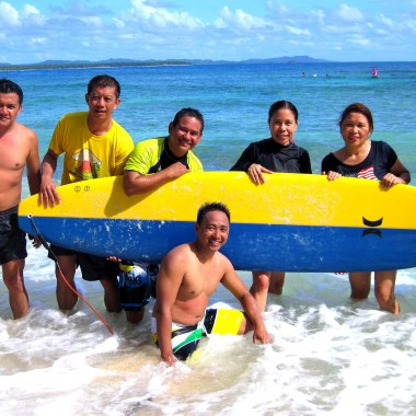 Enjoying the waves, with MRDP workmates - Arnel, Sam, Beboy, Rosie, Christian & Sherwin