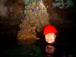 Clear water inside the cave. Like a mirror?