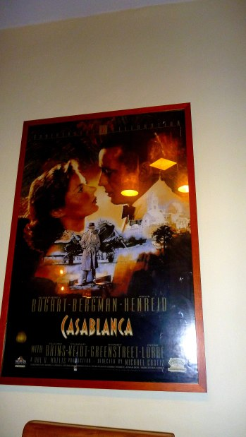 Casablanca poster on its wall reminds this classic film
