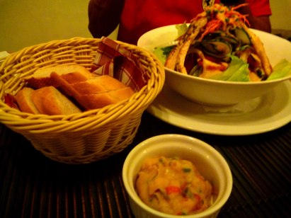 Casablanca salad, freshly baked baguette and potato salad is more than perfect for our taste!